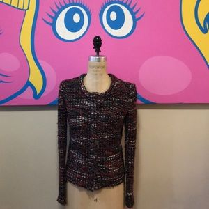 IRO Red Blue Black Tweed Boucle Jacket
